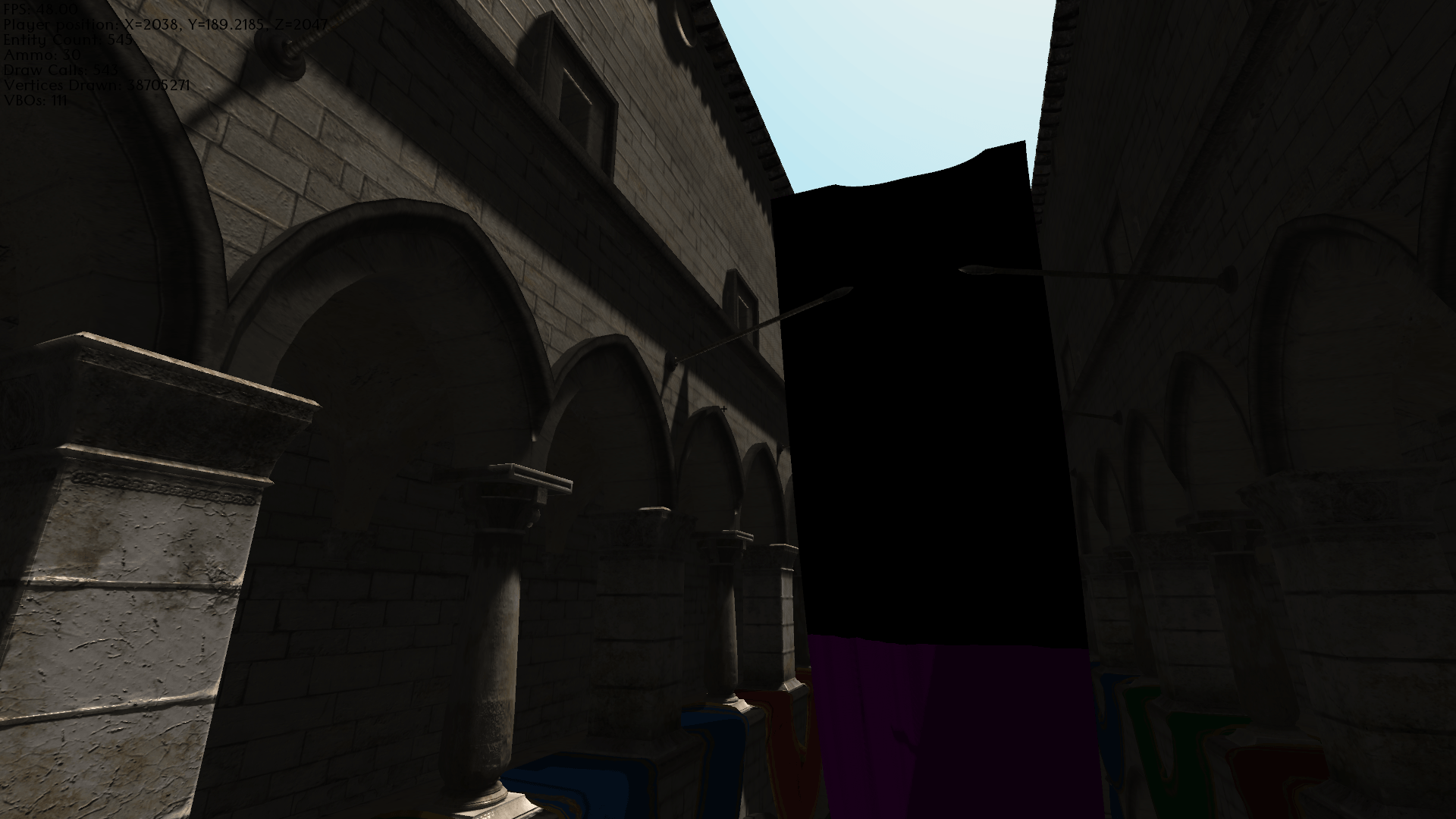 Crytek Sponza model with 4096x4096 4-split CSMs, 3x3 Gaussian blurring with PCF.